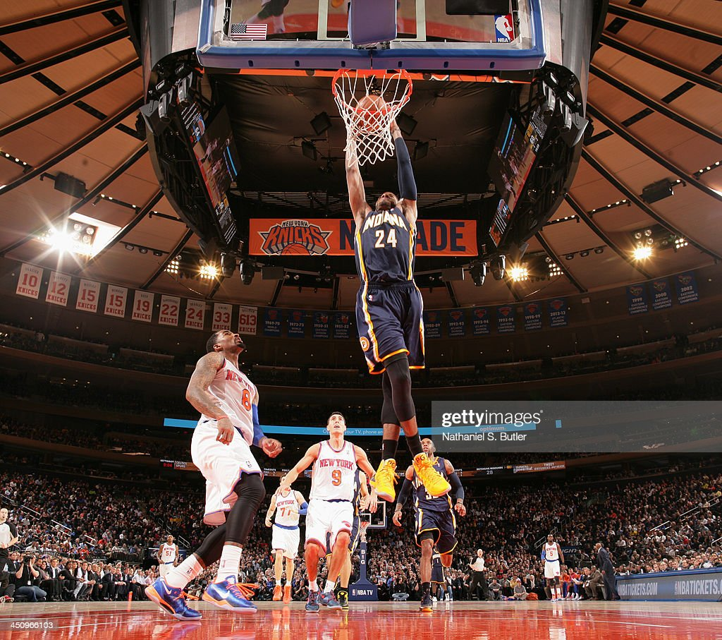 Paul George #24 of the Indiana Pacers dunks during a game against the New York Knicks at Madison Square Garden in New York City on November 20, 2013.