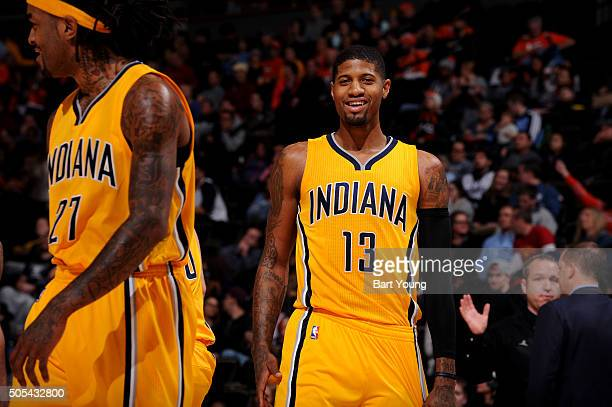 Paul George of the Indiana Pacers during the game against the Denver Nuggets on January 17 2016 at the Pepsi Center in Denver Colorado NOTE TO USER...