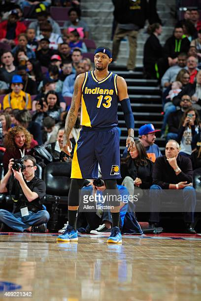 Paul George of the Indiana Pacers during the game against the Detroit Pistons on April 10 2015 at The Palace of Auburn Hills in Auburn Hills Michigan...