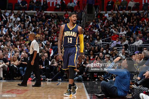 Paul George of the Indiana Pacers during the game against the Los Angeles Clippers on December 2 2015 at STAPLES Center in Los Angeles California...