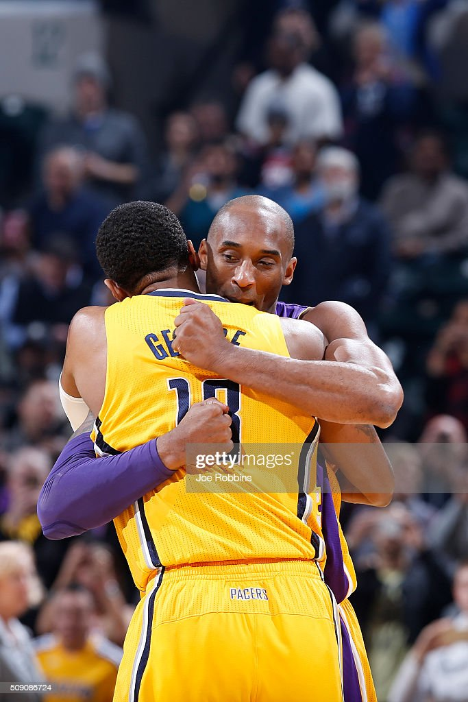 <a gi-track='captionPersonalityLinkClicked' href=/galleries/search?phrase=Paul+George+-+Basketball&family=editorial&specificpeople=7235030 ng-click='$event.stopPropagation()'>Paul George</a> #13 of the Indiana Pacers gets a hug from <a gi-track='captionPersonalityLinkClicked' href=/galleries/search?phrase=Kobe+Bryant&family=editorial&specificpeople=201466 ng-click='$event.stopPropagation()'>Kobe Bryant</a> #24 of the Los Angeles Lakers before the game at Bankers Life Fieldhouse on February 8, 2016 in Indianapolis, Indiana.
