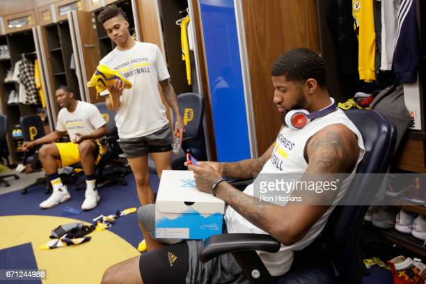 Paul George of the Indiana Pacers gets ready before Game Three of the Eastern Conference Quarterfinals against the Cleveland Cavaliers during the...
