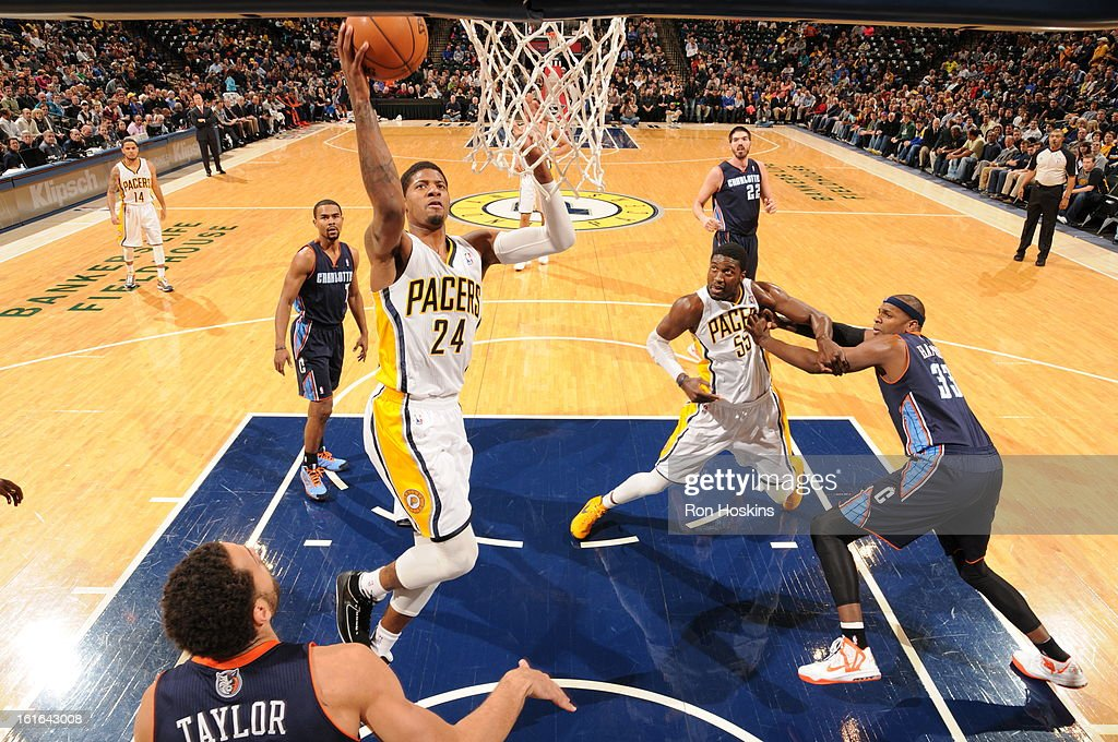 Paul George #24 of the Indiana Pacers goes to the basket against the Charlotte Bobcats on February 13, 2013 at Bankers Life Fieldhouse in Indianapolis, Indiana.