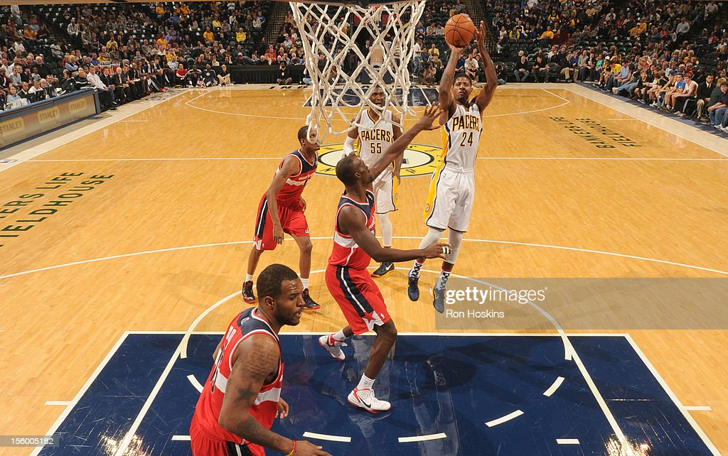 Paul George #24 of the Indiana Pacers goes to the basket during the game between the Indiana Pacers and the Washington Wizards on November 10, 2012 at Bankers Life Fieldhouse in Indianapolis, Indiana.