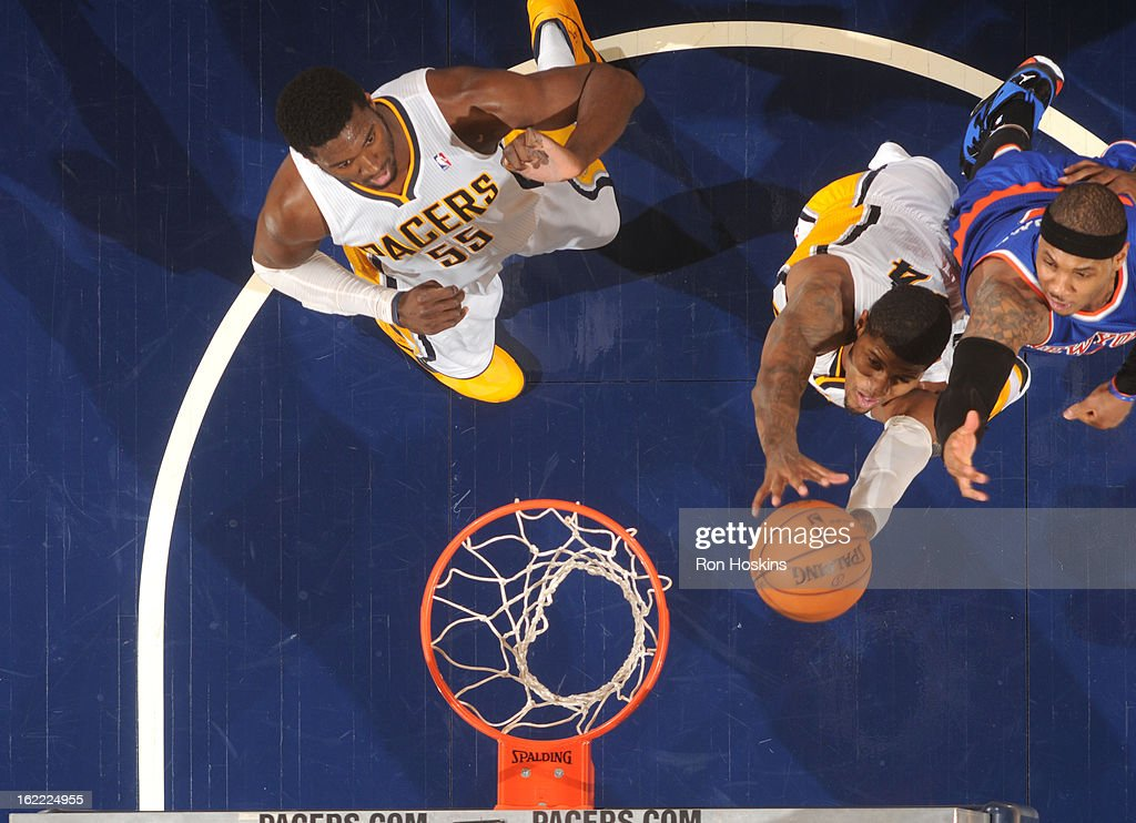 Paul George #24 of the Indiana Pacers goes to the basket during the game between the Indiana Pacers and the New York Knicks on February 20, 2013 at Bankers Life Fieldhouse in Indianapolis, Indiana.