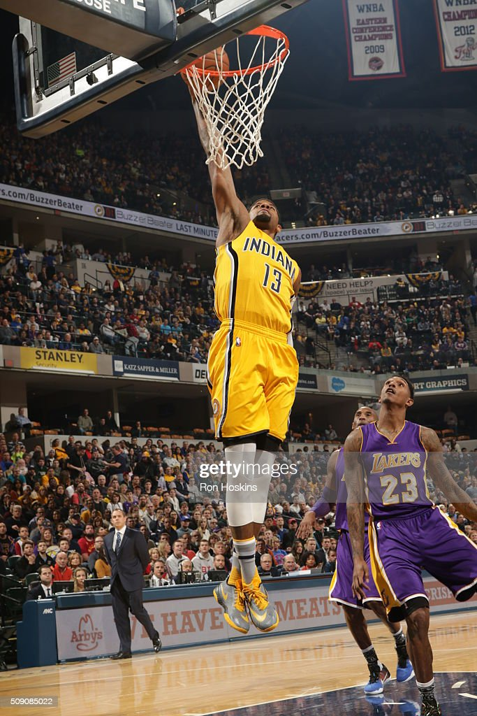 <a gi-track='captionPersonalityLinkClicked' href=/galleries/search?phrase=Paul+George+-+Basketball+Player&family=editorial&specificpeople=7235030 ng-click='$event.stopPropagation()'>Paul George</a> #13 of the Indiana Pacers goes up for a dunk against the Los Angeles Lakers on February 8, 2016 at Bankers Life Fieldhouse in Indianapolis, Indiana.