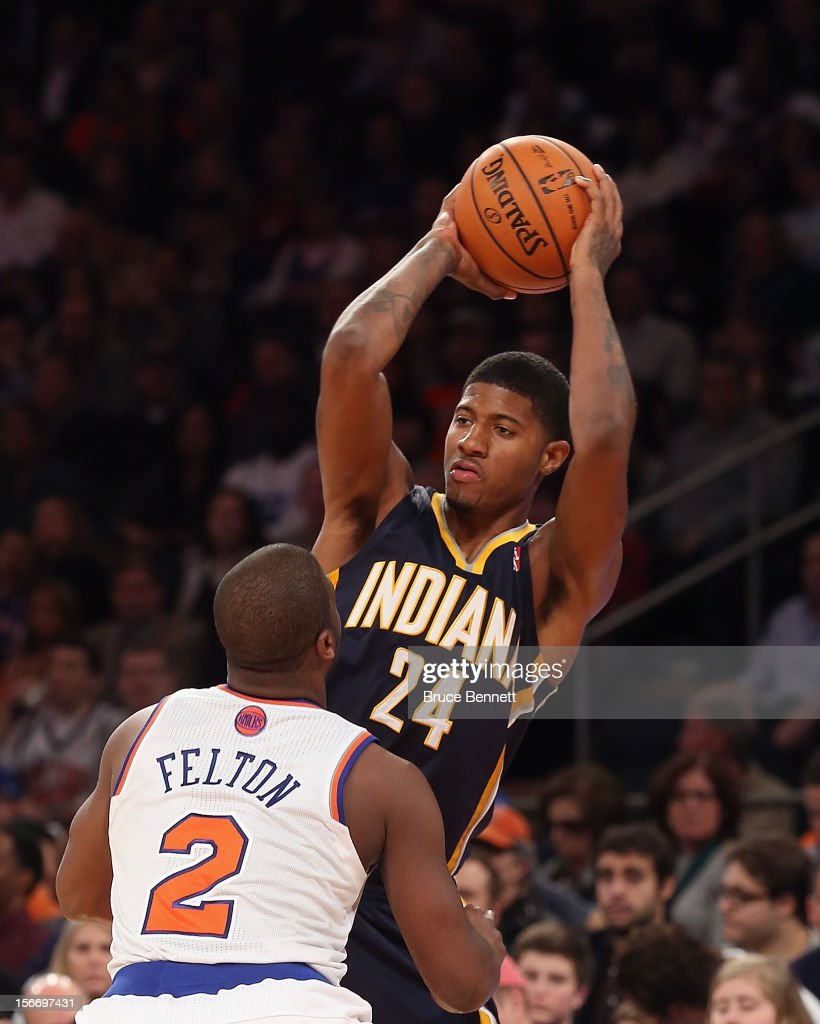 Paul George #24 of the Indiana Pacers grabs a rebound against the New York Knicks at Madison Square Garden on November 18, 2012 in New York City.