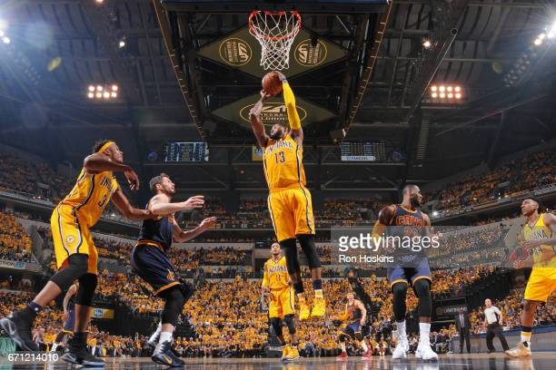 Paul George of the Indiana Pacers grabs a rebound during Game Three of the Eastern Conference Quarterfinals against the Cleveland Cavaliers of the...