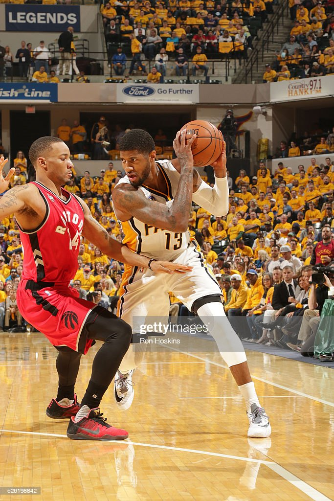 <a gi-track='captionPersonalityLinkClicked' href=/galleries/search?phrase=Paul+George+-+Basketball+Player&family=editorial&specificpeople=7235030 ng-click='$event.stopPropagation()'>Paul George</a> #13 of the Indiana Pacers handles the ball against the Toronto Raptors in Game Six of the Eastern Conference Quarterfinals during the 2016 NBA Playoffs on April 29, 2016 at Bankers Life Fieldhouse in Indianapolis, Indiana.