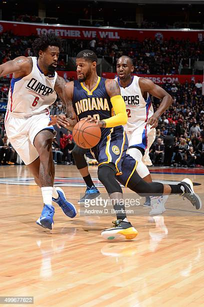 Paul George of the Indiana Pacers handles the ball against the Los Angeles Clippers on December 2 2015 at STAPLES Center in Los Angeles California...