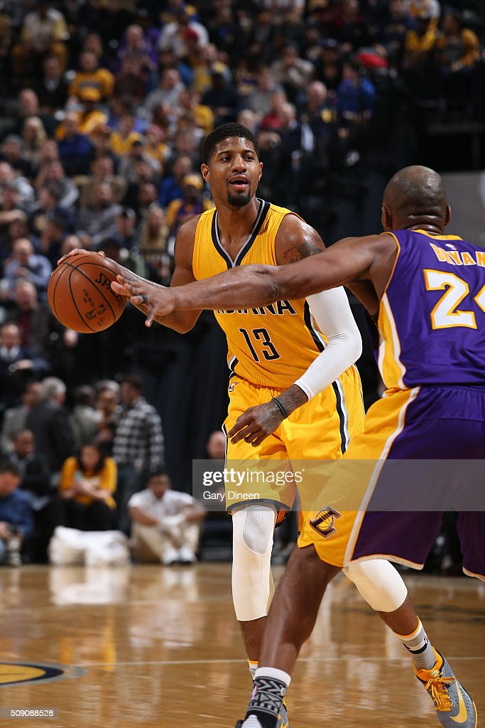 <a gi-track='captionPersonalityLinkClicked' href=/galleries/search?phrase=Paul+George+-+Basketball+Player&family=editorial&specificpeople=7235030 ng-click='$event.stopPropagation()'>Paul George</a> #13 of the Indiana Pacers handles the ball against the Los Angeles Lakers on February 8, 2016 at Bankers Life Fieldhouse in Indianapolis, Indiana.