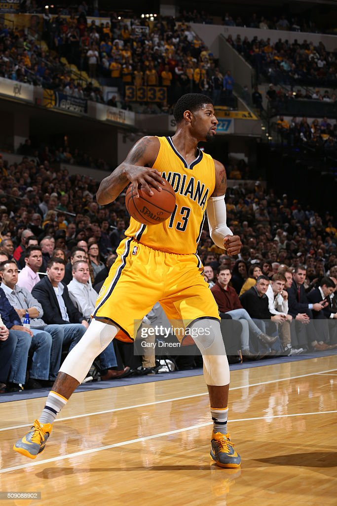 Paul George #13 of the Indiana Pacers handles the ball against the Los Angeles Lakers on February 8, 2016 at Bankers Life Fieldhouse in Indianapolis, Indiana.