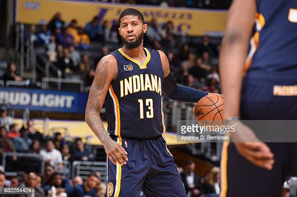 Paul George of the Indiana Pacers handles the ball against the Los Angeles Lakers on January 20 2017 at STAPLES Center in Los Angeles California NOTE...
