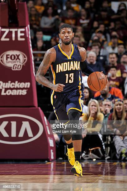 Paul George of the Indiana Pacers handles the ball against the Cleveland Cavaliers on November 8 2015 at Quicken Loans Arena in Cleveland Ohio NOTE...