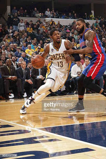 Paul George of the Indiana Pacers handles the ball against the Detroit Pistons on January 2 2016 at Bankers Life Fieldhouse in Indianapolis Indiana...