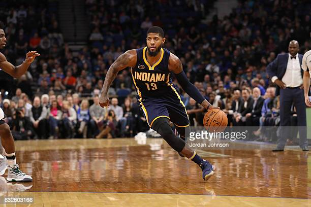 Paul George of the Indiana Pacers handles the ball during a game against the Minnesota Timberwolves on January 26 2017 at Target Center in...