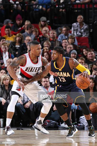 Paul George of the Indiana Pacers handles the ball Portland Trail Blazers on December 3 2015 at the Moda Center in Portland Oregon NOTE TO USER User...