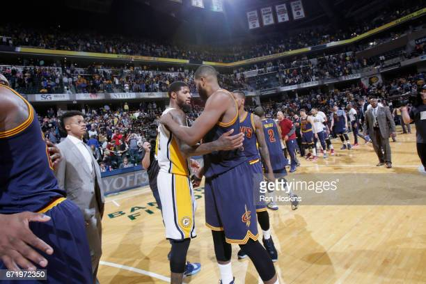 Paul George of the Indiana Pacers hugs Tristan Thompson of the Cleveland Cavaliers after Game Four of the Eastern Conference Quarterfinals of the...