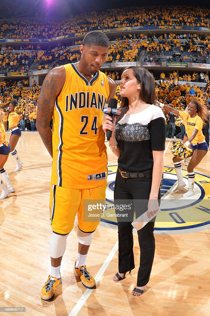 Paul George #24 of the Indiana Pacers is interviewed after Game Seven of the Eastern Conference Quarterfinals against the Atlanta Hawks during the 2014 NBA Playoffs on May 3, 2014 at Bankers Life Fieldhouse in Indianapolis, Indiana.