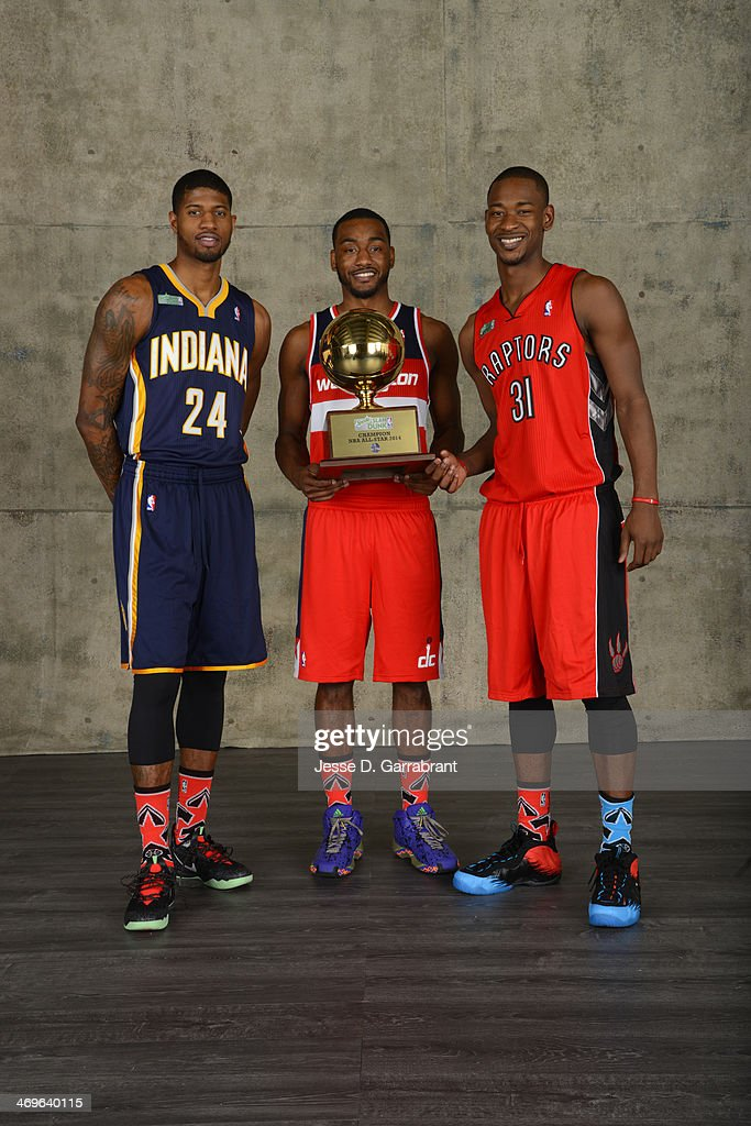 Paul George of the Indiana Pacers, John Wall of the Washington Wizards and Terrence Ross of the Toronto Raptors poses for a portrait after winning the Sprite Slam Dunk Contest during the 2014 State Farm Saturday Night on February 15, 2014 at the Smoothie King Center in New Orleans, Louisiana.