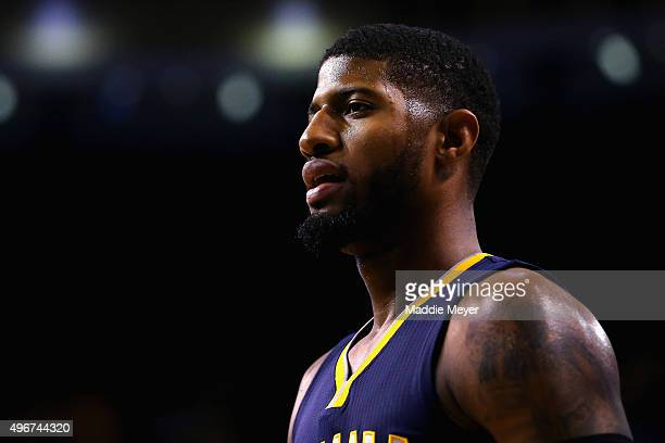 Paul George of the Indiana Pacers looks on during the first quarter against the Boston Celtics at TD Garden on November 11 2015 in Boston...