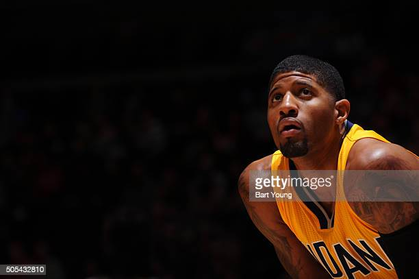 Paul George of the Indiana Pacers looks on during the game against the Denver Nuggets on January 17 2016 at the Pepsi Center in Denver Colorado NOTE...