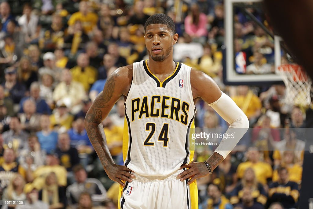 Paul George #24 of the Indiana Pacers looks on during the Game One of the Eastern Conference Quarterfinals between the Indiana Pacers and the Atlanta Hawks on April 21, 2013 at Bankers Life Fieldhouse in Indianapolis, Indiana.