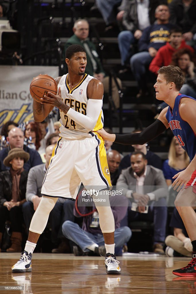 Paul George #24 of the Indiana Pacers looks to pass the ball against the Detroit Pistons on February 22, 2013 at Bankers Life Fieldhouse in Indianapolis, Indiana.