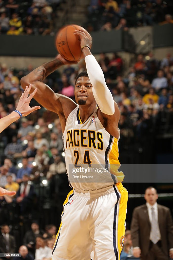 Paul George #24 of the Indiana Pacers looks to pass the ball against the Golden State Warriors on February 26, 2013 at Bankers Life Fieldhouse in Indianapolis, Indiana.