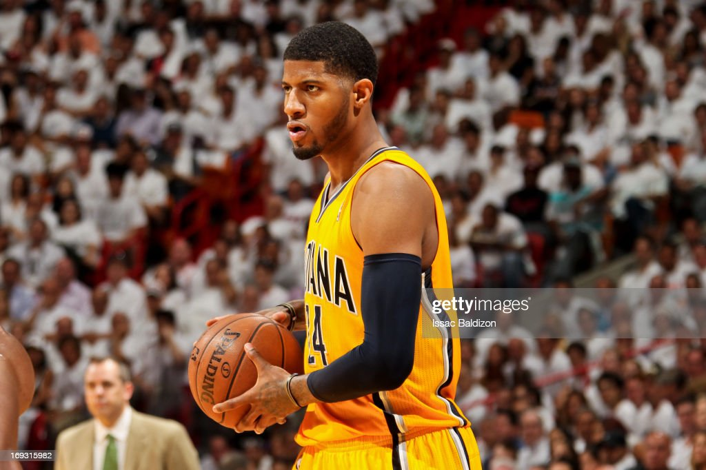 Paul George #24 of the Indiana Pacers looks to pass the ball against the Miami Heat in Game One of the Eastern Conference Finals during the 2013 NBA Playoffs on May 22, 2013 at American Airlines Arena in Miami, Florida.
