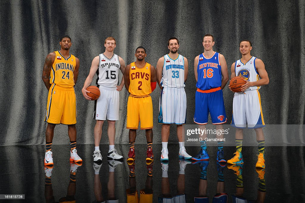 Paul George #24 of the Indiana Pacers, Matt Bonner #15 of the San Antonio Spurs, Kyrie Irving #2 of the Cleveland Cavaliers, Ryan Anderson #33 of the New Orleans Hornets, Steve Novak #16 of the New York Knicks, Stephen Curry #30 of the Golden State Warriors of the 2013 Foot Locker Three- Point Contest poses for portraits during State Farm All-Star Saturday Night as part of 2013 NBA All-Star Weekends at Toyota Center on February 16, 2013 in Houston, Texas.