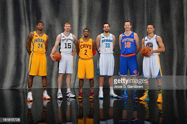 Paul George of the Indiana Pacers Matt Bonner of the San Antonio Spurs Kyrie Irving of the Cleveland Cavaliers Ryan Anderson of the New Orleans...