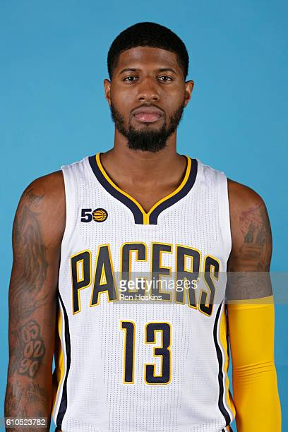 Paul George of the Indiana Pacers poses for a head shot during media day at Bankers Life Fieldhouse on September 26 2016 in Indianapolis Indiana NOTE...