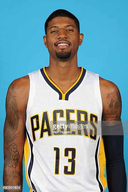 Paul George of the Indiana Pacers poses for a head shot during the Indiana Pacers media day at Bankers Life Fieldhouse on September 28 2015 in...