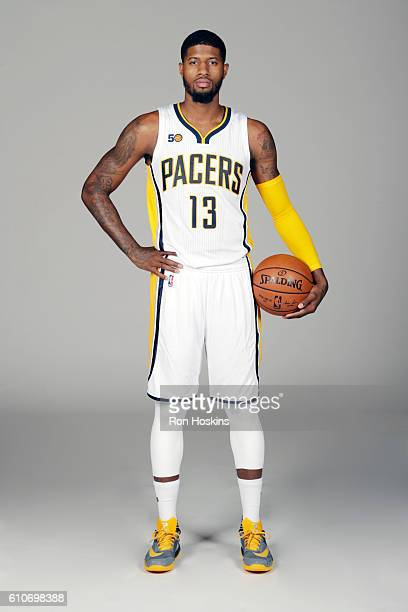 Paul George of the Indiana Pacers poses for a portrait during 2016 Media Day at Bankers Life Fieldhouse on September 26 2016 in Indianapolis Indiana...