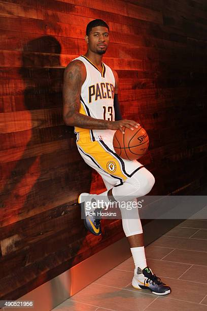 Paul George of the Indiana Pacers poses for a portrait during the Indiana Pacers media day at Bankers Life Fieldhouse on September 28 2015 in...