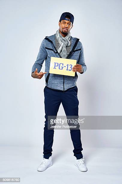 Paul George of the Indiana Pacers poses for a portrait with the twitter emoji during NBA AllStar Weekend on February 12 2016 at the Sheraton Centre...