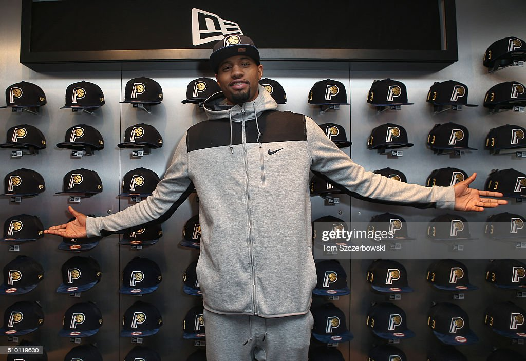 Paul George of the Indiana Pacers poses with a New Era Cap hat at Emory Vegas Jones and Kelton Crenshaw's ASG '16 cashmere pack event on February 13, 2016 in Toronto, Canada.