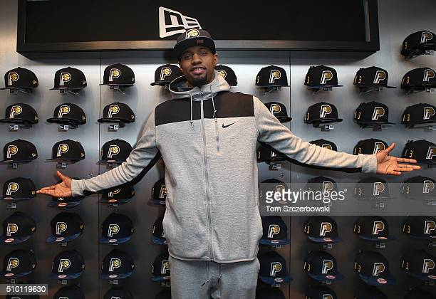 Paul George of the Indiana Pacers poses with a New Era Cap hat at Emory Vegas Jones and Kelton Crenshaw's ASG '16 cashmere pack event on February 13...