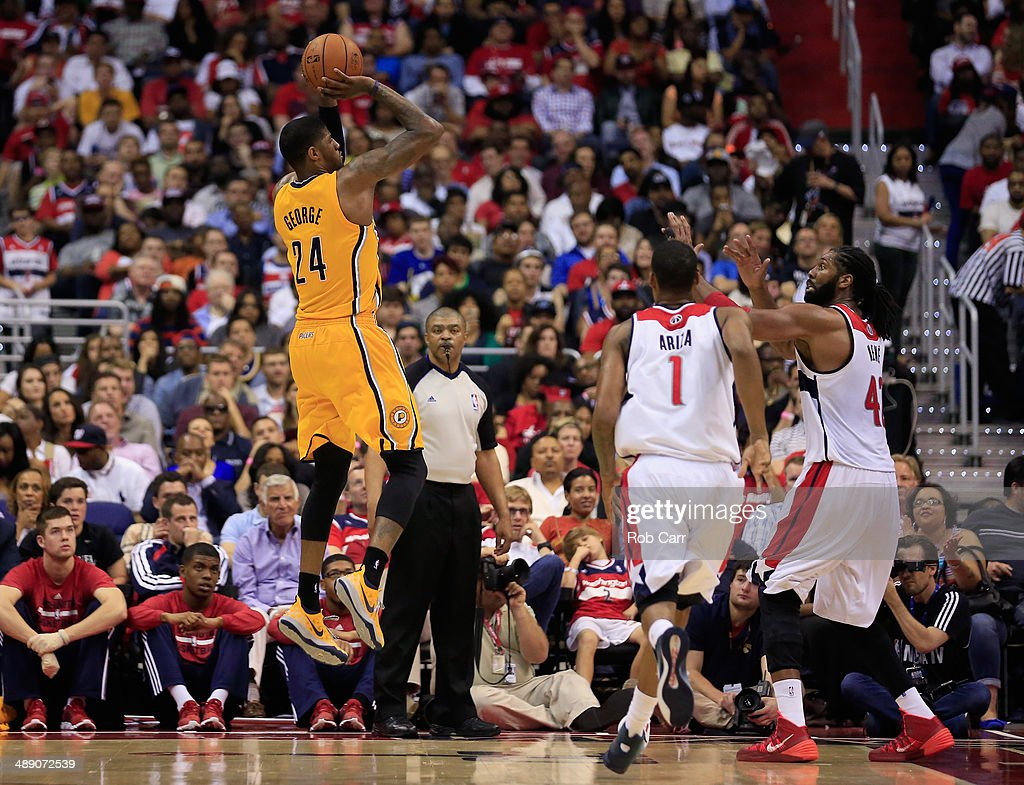 Paul George #24 of the Indiana Pacers puts up a shot against the Washington Wizards during the second half of Game 3 of the Eastern Conference Semifinals during the 2014 NBA Playoffs at Verizon Center on May 9, 2014 in Washington, DC. The Pacers won 85-63.