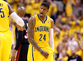Paul George of the Indiana Pacers reacts against the Miami Heat during Game Two of the Eastern Conference Finals of the 2014 NBA Playoffs at at...