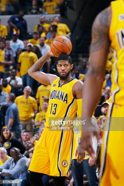 Paul George of the Indiana Pacers reacts in the fourth quarter of Game Five of the Eastern Conference First Round during the 2017 NHL Stanley Cup...
