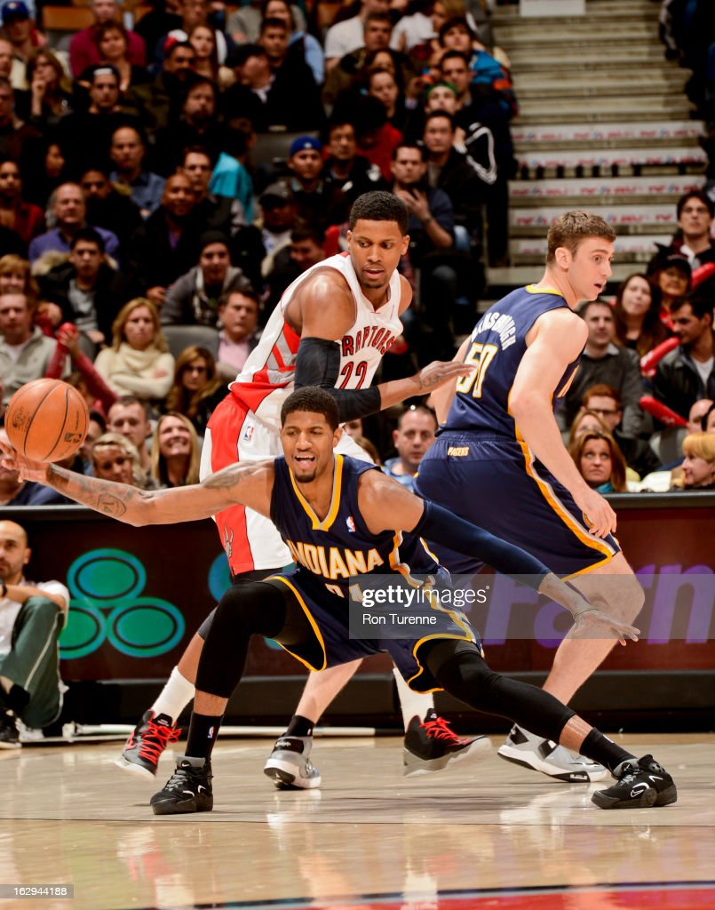 Paul George #24 of the Indiana Pacers receives a pass against the Toronto Raptors on March 1, 2013 at the Air Canada Centre in Toronto, Ontario, Canada.