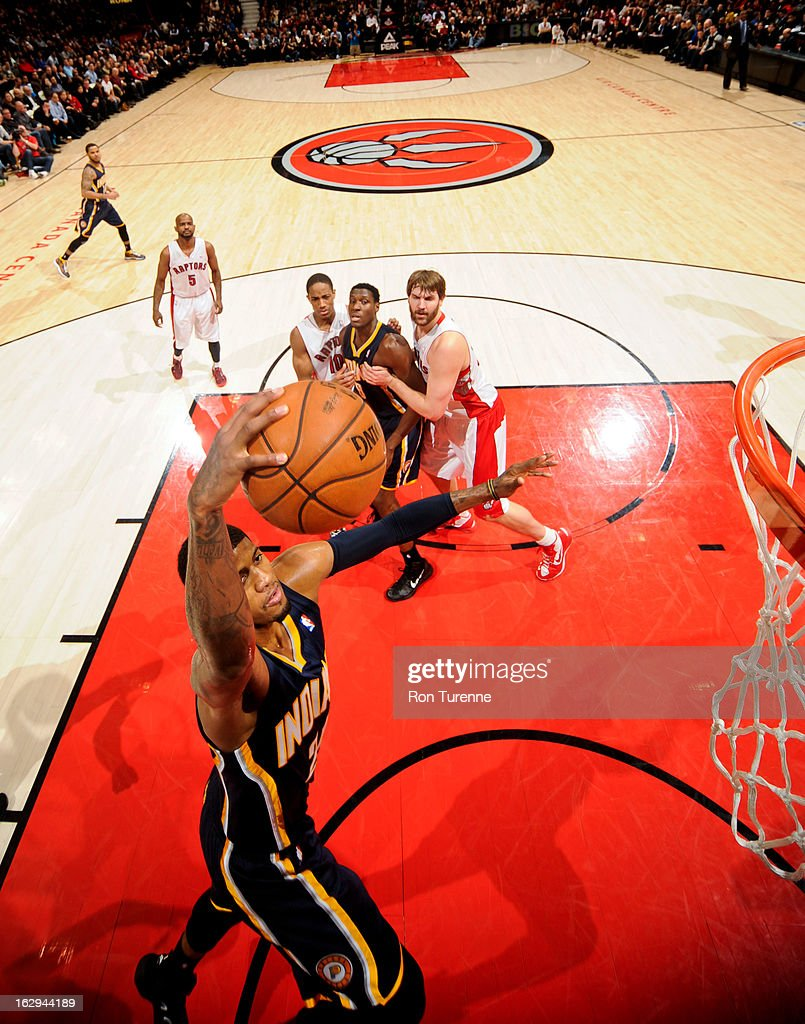 Paul George #24 of the Indiana Pacers rises for a dunk against the Toronto Raptors on March 1, 2013 at the Air Canada Centre in Toronto, Ontario, Canada.