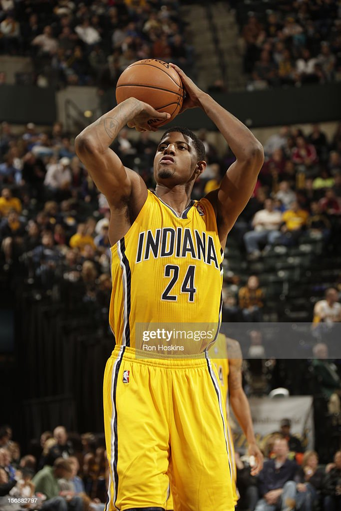 Paul George #24 of the Indiana Pacers shoots a foul shot vs the San Antonio Spurs on November 23, 2012 at Bankers Life Fieldhouse in Indianapolis, Indiana.