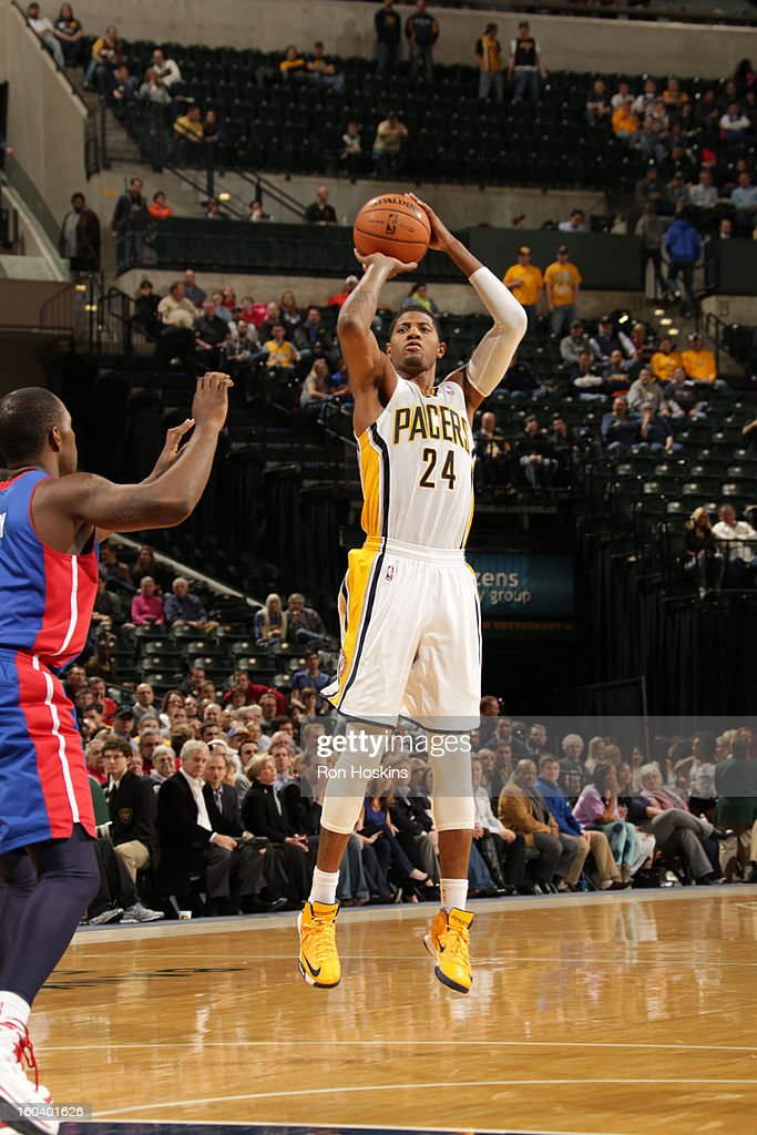 Paul George #24 of the Indiana Pacers shoots a jumper against the Detroit Pistons on January 30, 2013 at Bankers Life Fieldhouse in Indianapolis, Indiana.