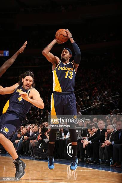 Paul George of the Indiana Pacers shoots against the New York Knicks on April 8 2015 at Madison Square Garden in New York City NOTE TO USER User...