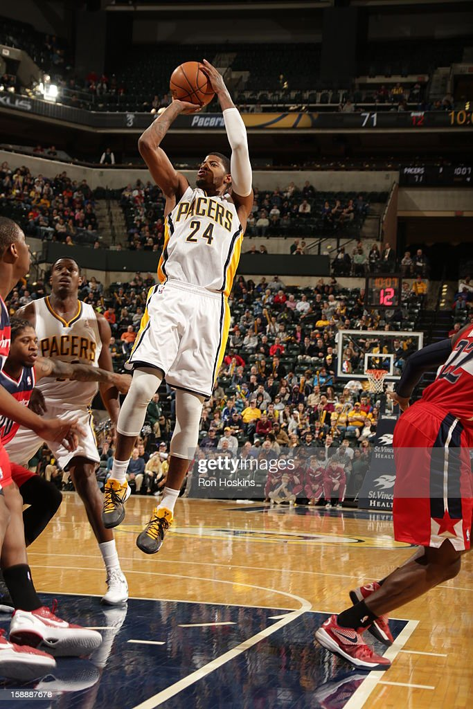 Paul George #24 of the Indiana Pacers shoots against the Washington Wizards on January 2, 2013 at Bankers Life Fieldhouse in Indianapolis, Indiana.
