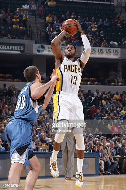 Paul George of the Indiana Pacers shoots the ball against the Minnesota Timberwolves at Bankers Life Fieldhouse on November 13 2015 in Indianapolis...