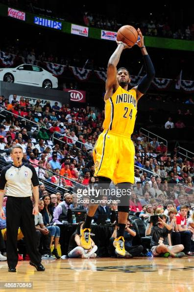 Paul George of the Indiana Pacers shoots the ball against the Atlanta Hawks during Game Four of the Eastern Conference Quarterfinals on April 26 2014...